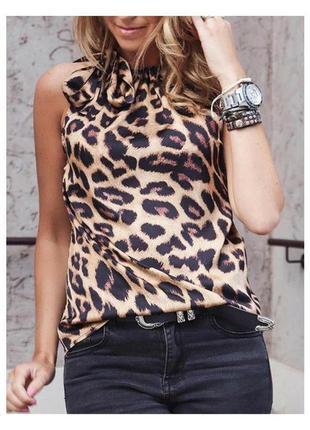 Топ блузка в леопардовый принт с завязкой спереди