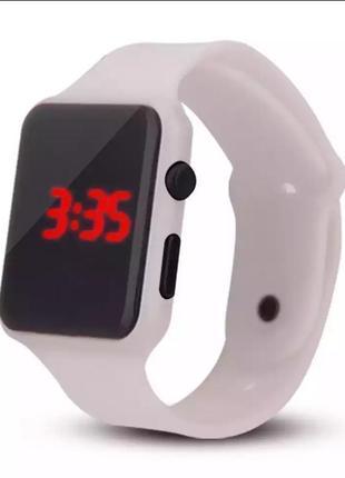 Часы наручные унисекс электронные белые силиконовые