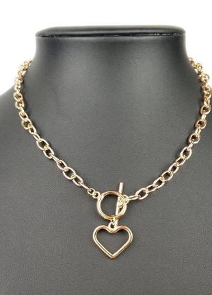 Ожерелье колье чокер цепочка цепь золотистая с подвеской сердце кольцо