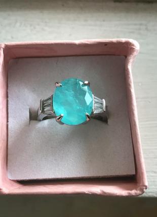 Элегантное  кольцо с огромным турмалином параиба 10х12мм цвет необыкновенно красивый неон