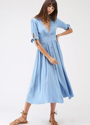 Ідеальна бавовняла сукня блакитного кольору midi