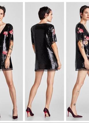 Zara міні-сукня в паєтках з вишитими квітами