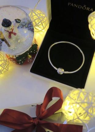 Оригинальный браслет pandora серебро с золотом