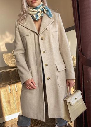 Шерстяное пальто бежевое max mara оригинал