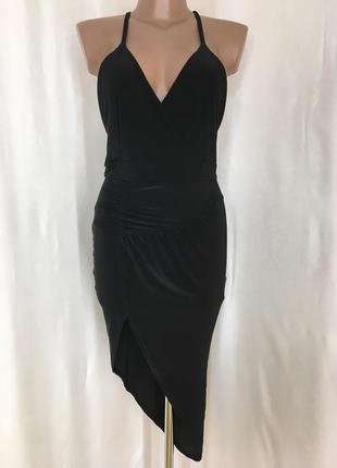 Эффектное черное коктельное платье сарафан boohoo