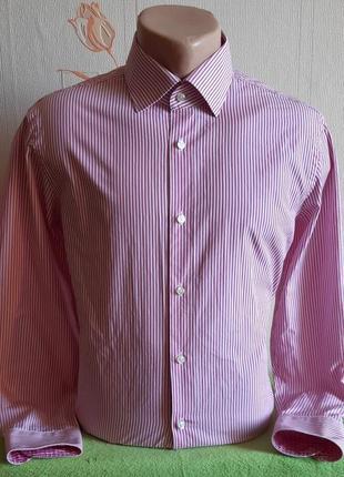 Стильная белая рубашка в розовую полоску tommy hilfiger tailored fitted
