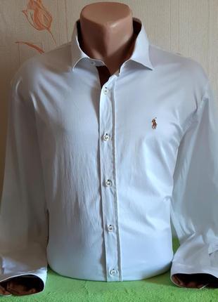 Крутая стрейчевая рубашка polo by ralph lauren, made in turkey
