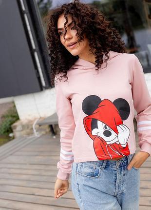 Женская худи mouse пудра