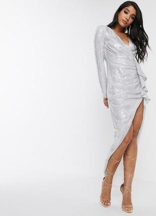 Платье макси с подплечниками и пайетками pretty darling