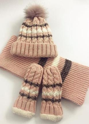 3в1 шапка перчатки шарф комплект