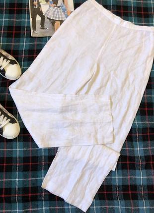 Белые льняные штаны кюлоты высокая талия