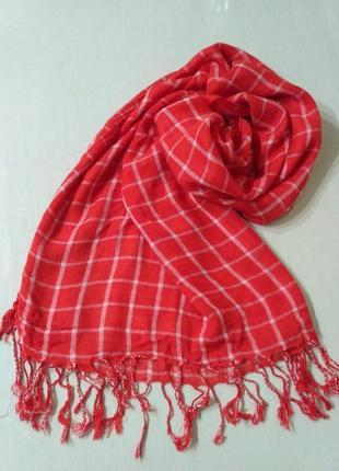 Maddison тонкий шарф, палантин в клетку 186×45 см 100% вискоза