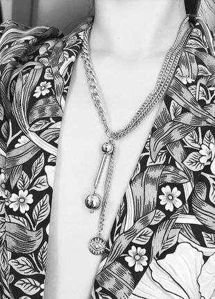 Ожерелье колье длинная цепочка серебристая с подвеской