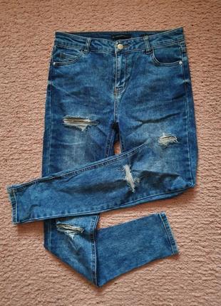 Джинсы reserved slim skinny синие скинни слим с дырками и потёртостями