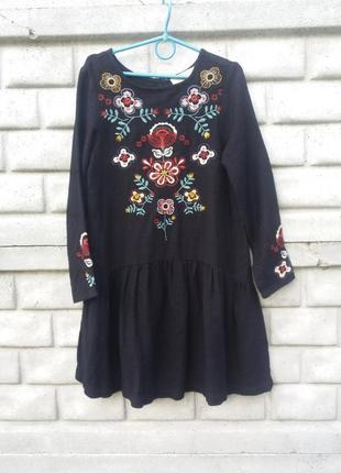 Платье вышиванка zara на рост 152 см 11- 12 лет