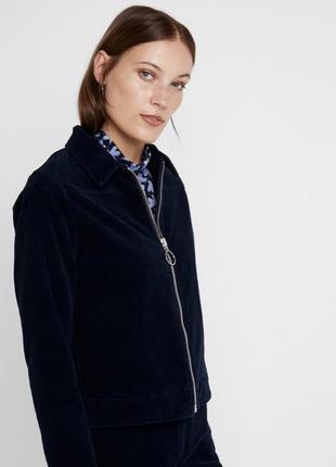 Курточка укороченная вельвет стильная синяя молодёжная кольцо с карманами велюр бархат