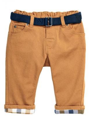 Хлопковые брюки на подкладке h&m 0414156005 коричневого цвета
