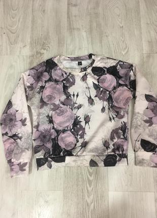 Нежный свитшот кофта цветочный принт