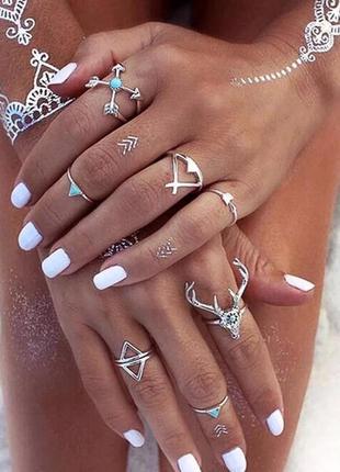 Стильные кольца набор колец в бохо этно стиле олень