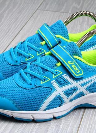 Детские кроссовки asics на липучке оригинал размер 35 голубого цвета
