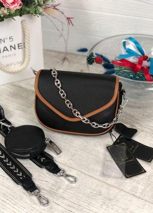 Кожаная маленькая сумочка polina & eiterou
