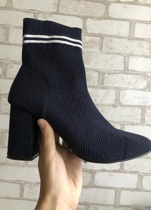 Ботильоны-носки на устойчивом каблуке🤍