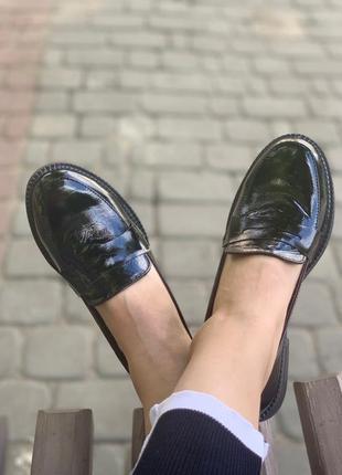 Лоферы с итальянской кожи лак туфли туфлі кожаные