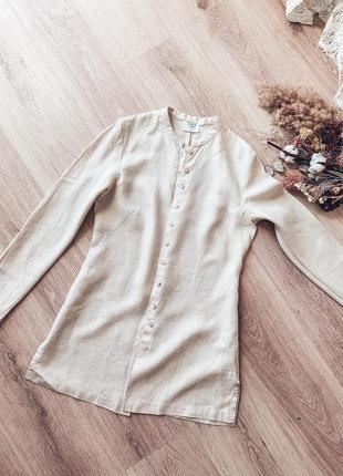 Льняная туника, винтажная льняная блуза