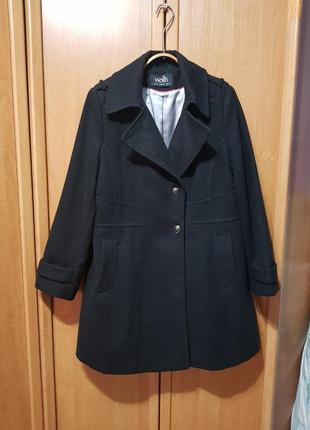 """Классическое черное пальто, удлинённое пальто под """"шерсть"""", wallis"""