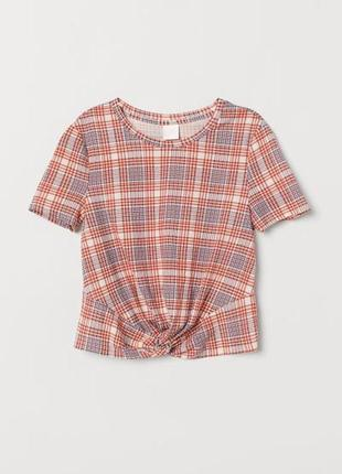 Топ блуза футболка с узлом в клетку h&m