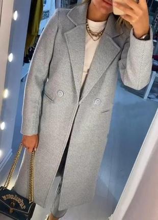 Пальто кашемировое серое