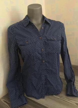 Синяя рубашка в белый горошек s m h&m divided