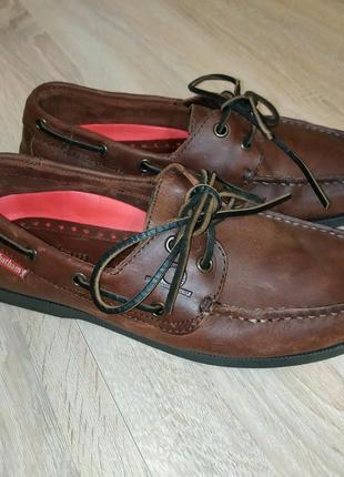 Кожанные коричневые топсайдеры туфли мокасины 40