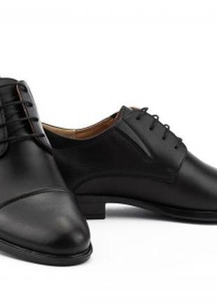 Мужские кожаные демисезонные черные туфли stas 437-09-10