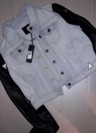 Куртка, бомбер, пиджак дяжинсовая котоновая с кожаными рукавами. river island