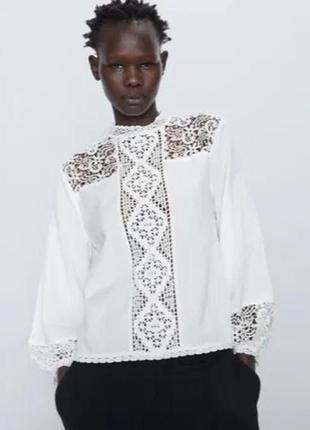 Блузка с кружевом zara оригинал