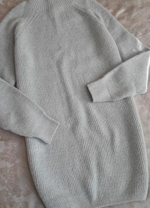 Брендовое платье свитер tally weijl светло серое размер l
