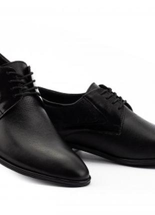 Мужские кожаные демисезонные туфли slat 19440 на шнурках