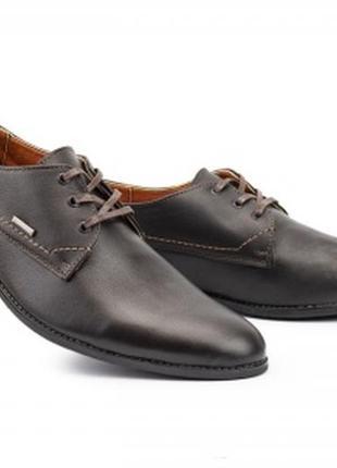 Мужские кожаные демисезонные коричневые туфли yuves m111