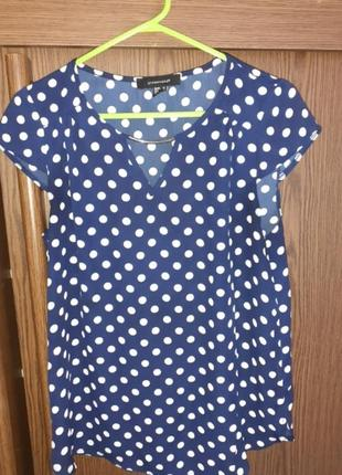 Блуза синяя в белый горошек