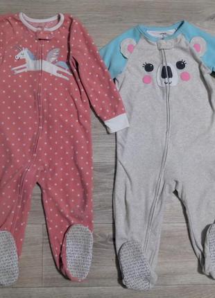 Флисовые человечки пижамки carter's