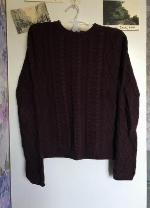 Бордовый вязаный свитер в косы джемпер кофта s