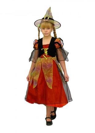 Хэллоуин костюм волшебницы ведьмы платье+шляпа+нарукавники