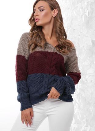 Модный класный вязаный свитер джемпер шерсть 50 %бежевый бордовый синий
