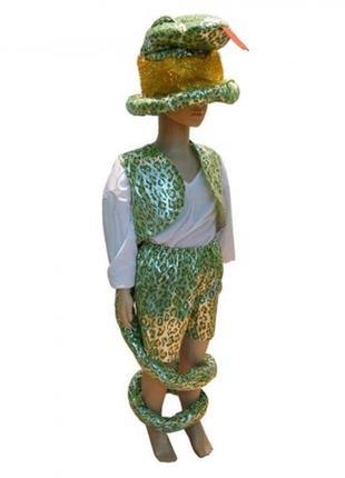 Маскарадный костюм змея зеленая шапка жилет шорты