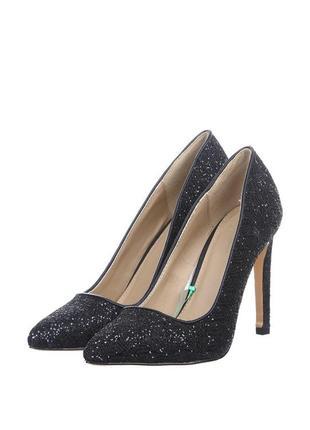 Чёрные мерцающие туфли лодочки с блёстками zara