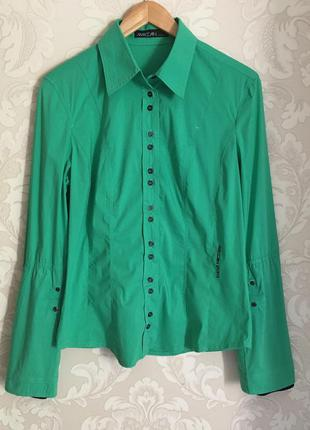 Marc cain оригинал италия зеленая спортивная рубашка размер 3 (м)