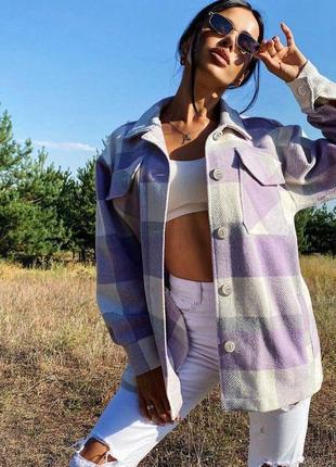 Тёплая рубашка в клетку оверсайз👍тренд 2020👍3 фото