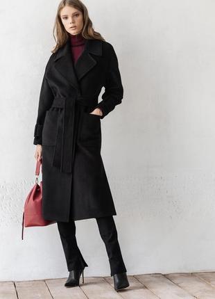 Удлинённое чёрное пальто из шерсти зима демисезон