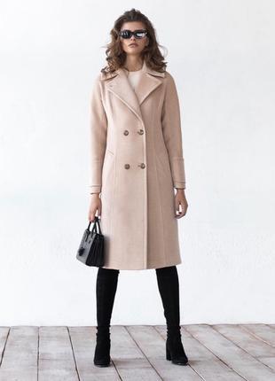 Шерстяное утеплённое кремовое бежевое пальто